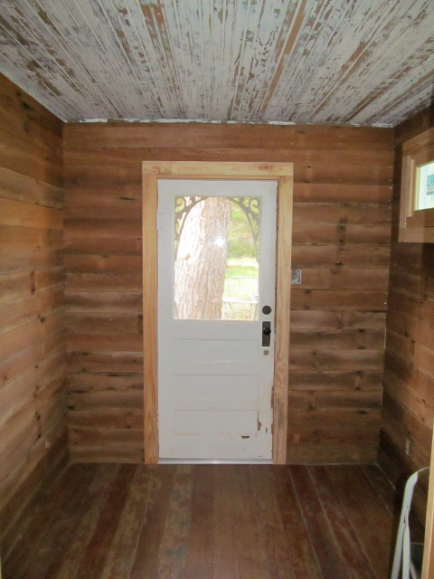 Shiplap and beadboard installed in mudroom