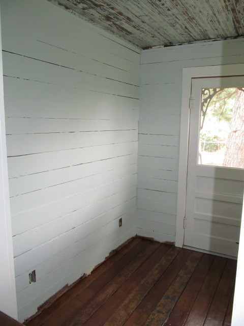 finished blue walls in mudroom
