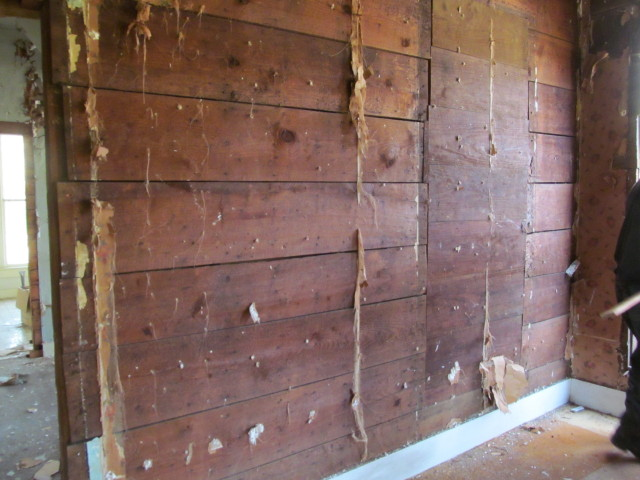 rough sawn walls in front room