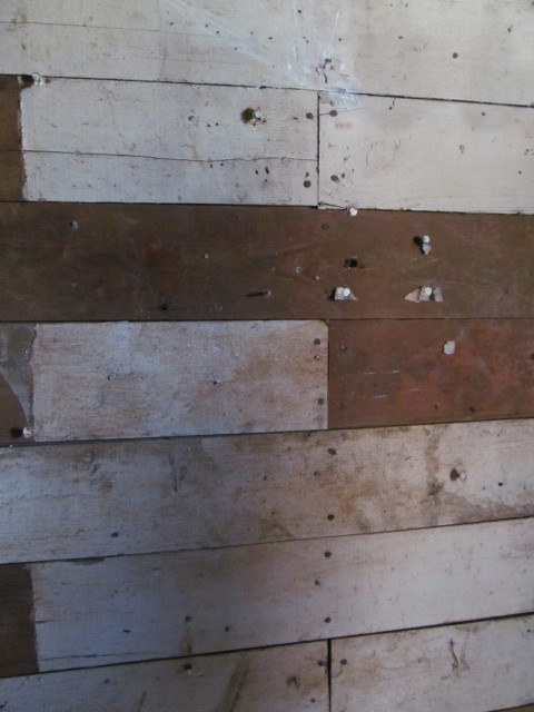 shiplap boards and old milk paint