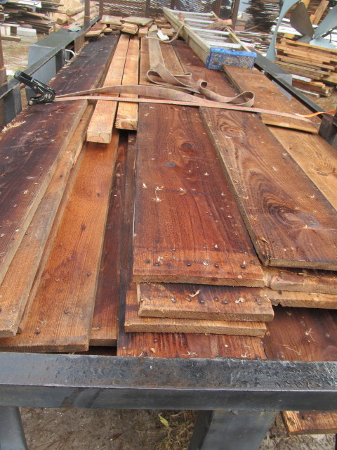 old roughsawn boards ready to unload from the trailer
