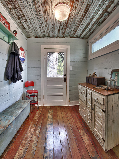 Can you believe this mudroom is a new build? It was almost exclusively built with reclaimed materials and antiques!