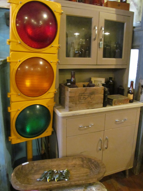Industrial stepback cabinet and old stop sign- Living Vintage