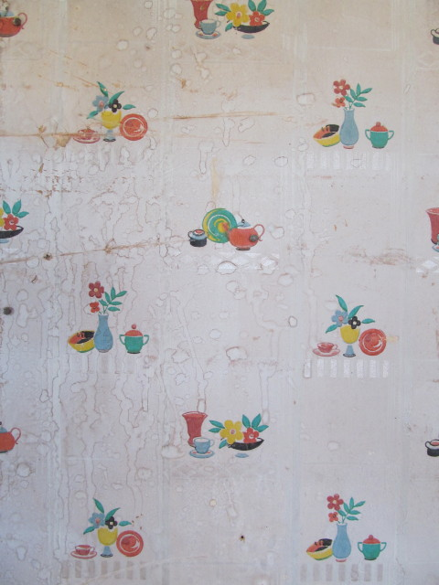 old kitchenware wallpaper
