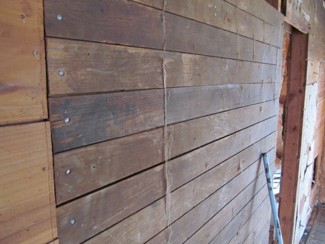 floor boards using as wall sheathing