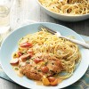 pomodoro chicken and garlic spaghetti