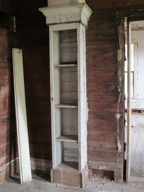 old cabinet which was used beneath an upstairs fireplace