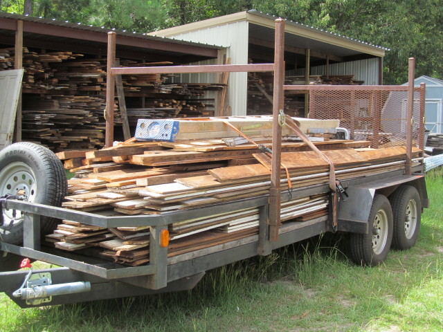 a full load of salvaged lumber