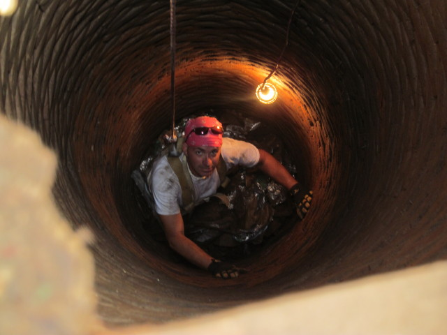 Here's John deep inside the well