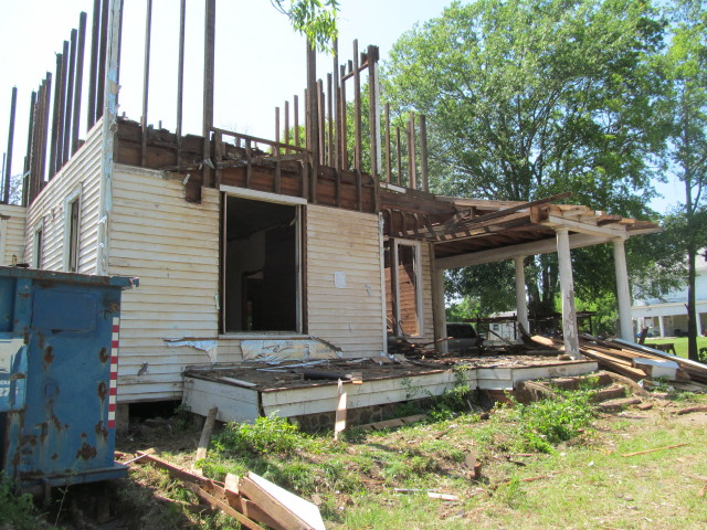 half of porch gone by mid-day