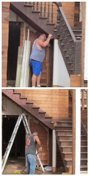 removing the stairs' handrail, ballisters, and the woodwork underneath
