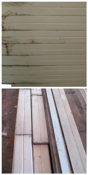 salvaged wide beadboard