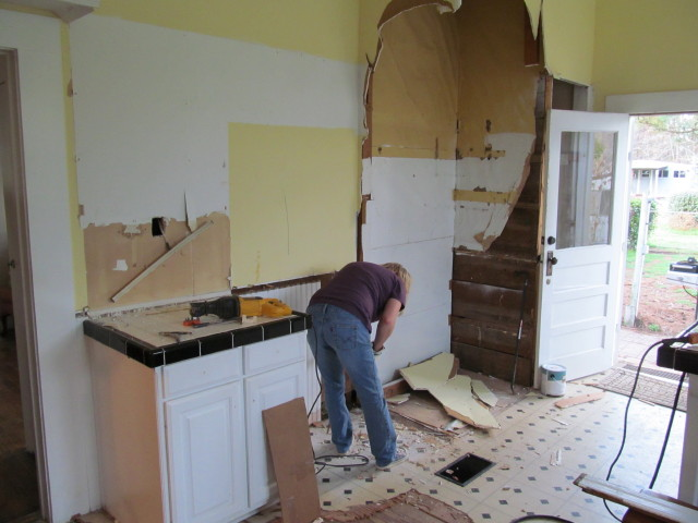 demolishing the old kitchen