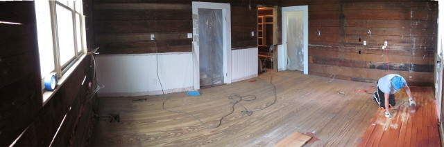 sanding the patched floor_1