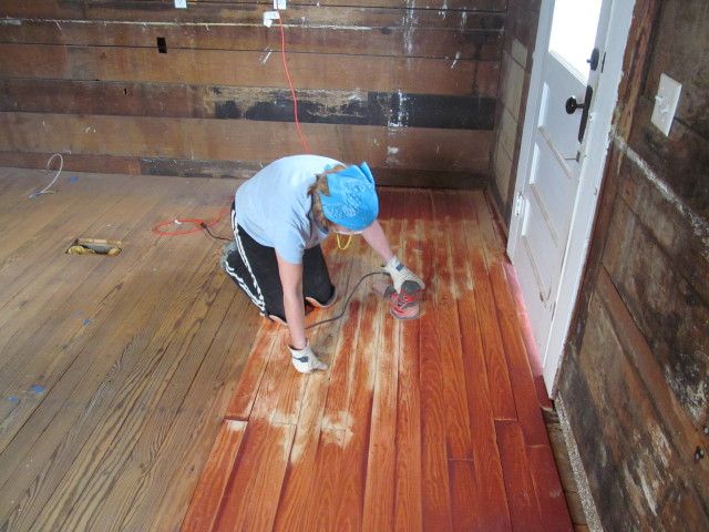 sanding the patched floors