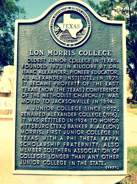 Historic marker of Lon Morris College