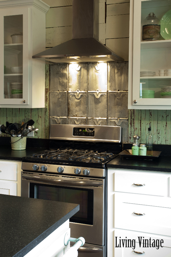 Living Vintage kitchen reveal - backsplash made from salvaged roof tin and beadboard
