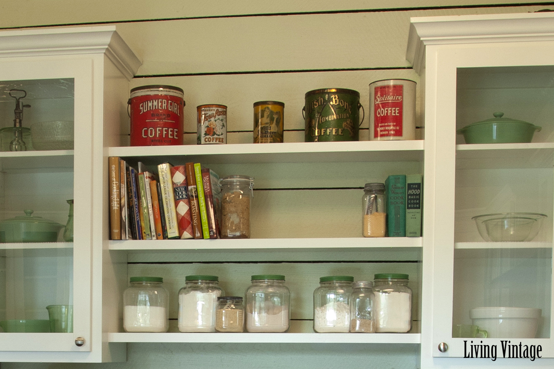 Living Vintage kitchen reveal - closeup of open shelving