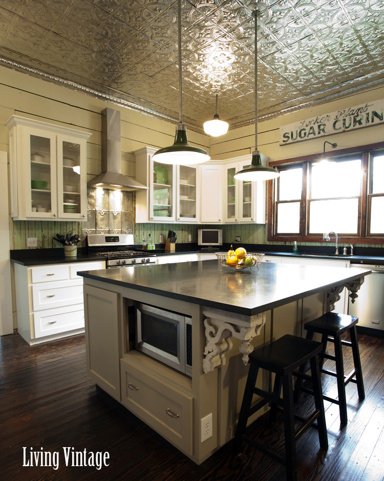 Living Vintage kitchen reveal - large island with reclaimed corbels