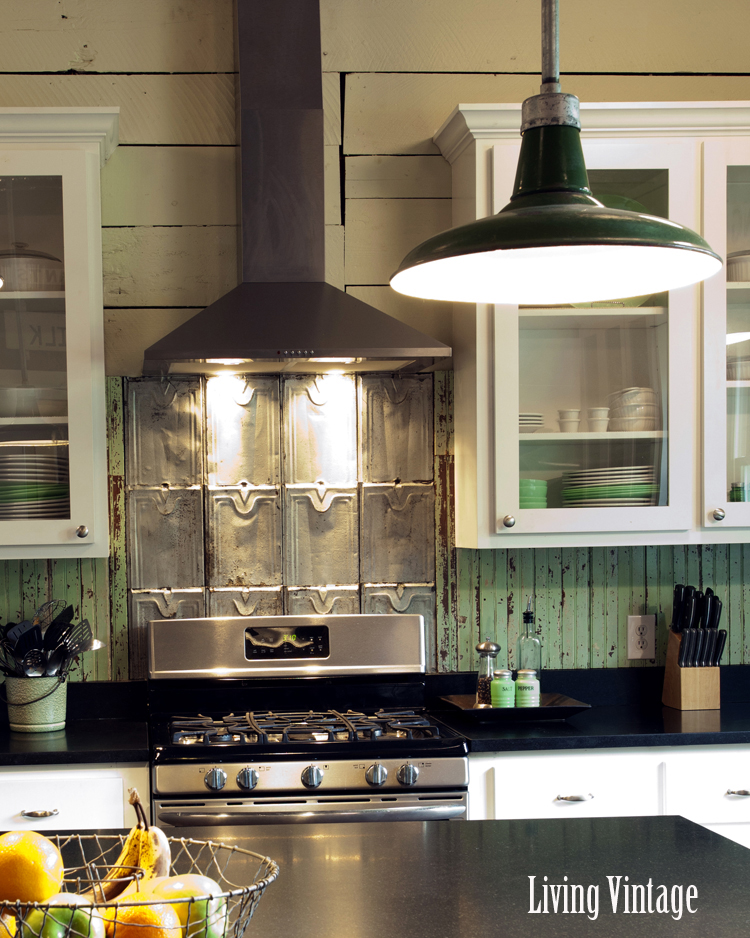 Living Vintage kitchen reveal - view of both backsplashes and original painted wood walls