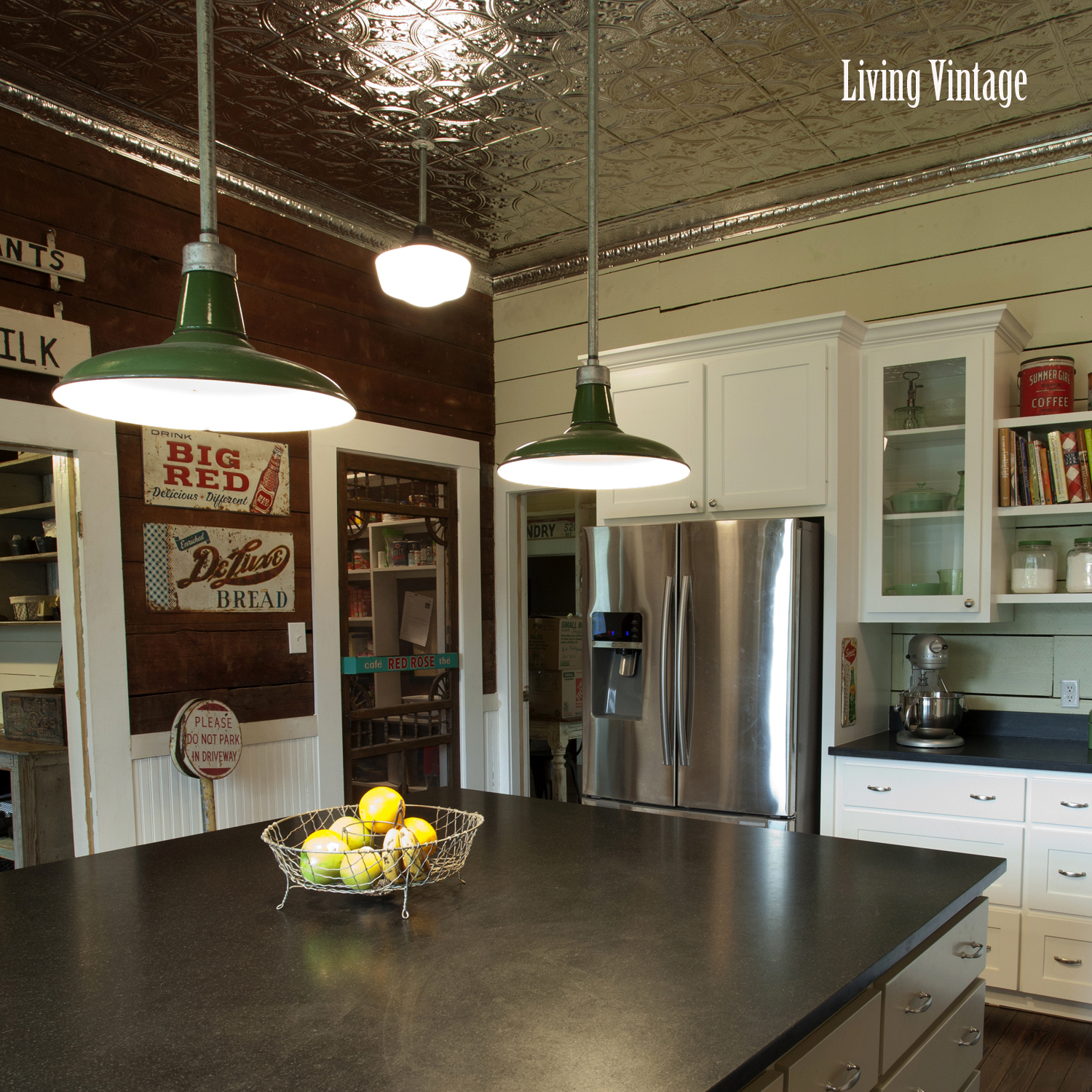 Living Vintage kitchen reveal - view towards pantry and dogtrot