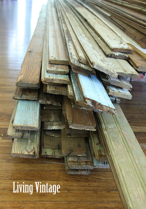 Living Vintage - pile of old beadboard in our dogtrot