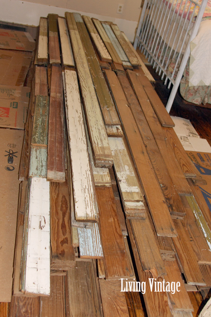 Living Vintage - pile of old beadboard in our guest bedroom (2)