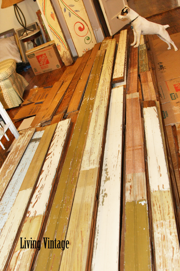 Living Vintage - pile of old beadboard in our guest bedroom