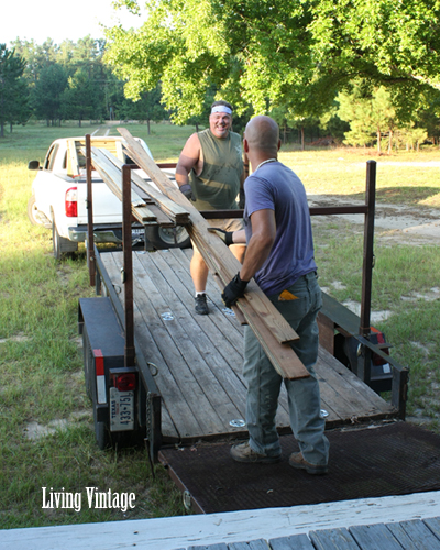 Mark and John load up the old beadboard - Living Vintage