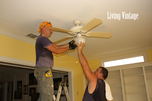 Mark and John removed the ceiling fan and HVAC covers