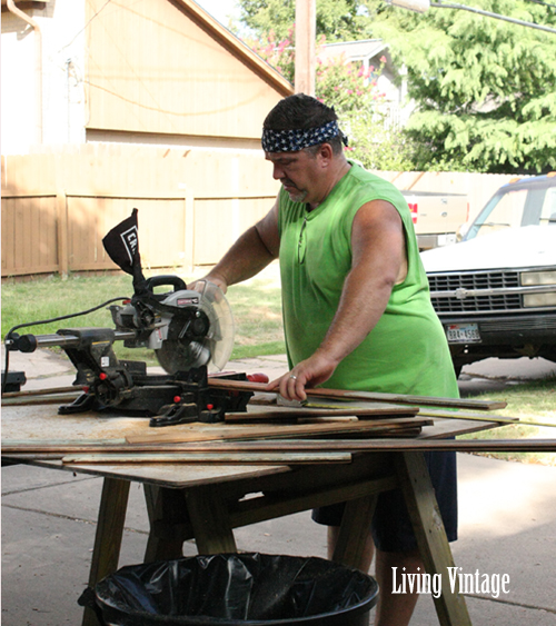 Mark operating the chop saw - Living Vintage