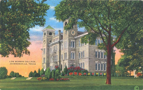 Old illustration of one of Lon Morris College's buildings