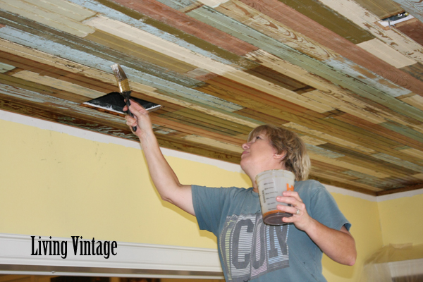 Polyurethaning the beadboard ceiling - Living Vintage