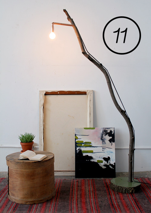 a diy project - copper plus tree branch floor lamp