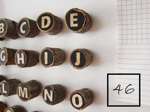 alphabet magnets made with tree branches