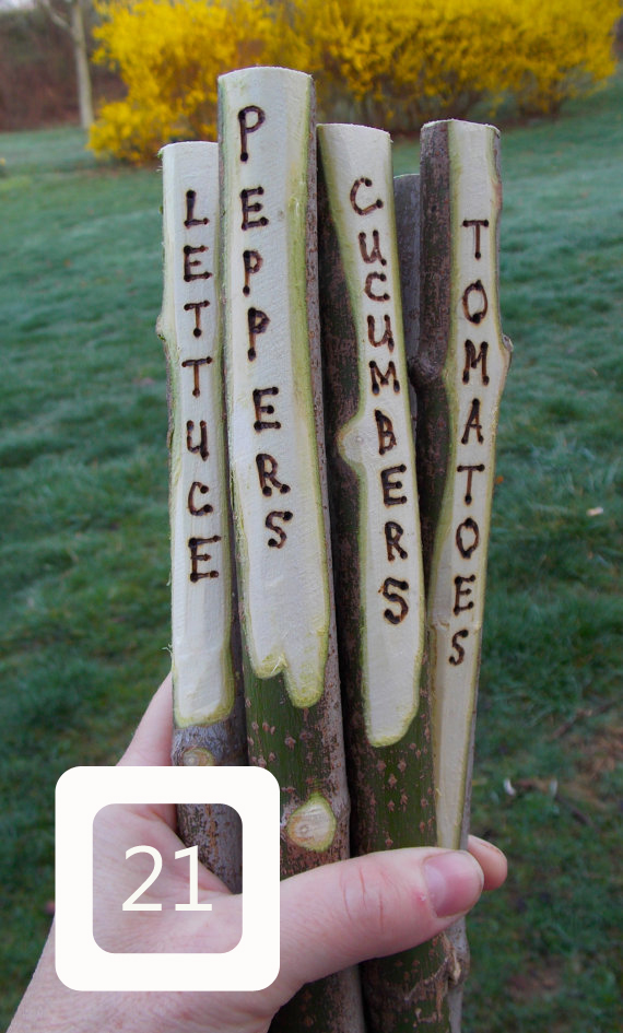create plant markers using twigs and a wood-burner
