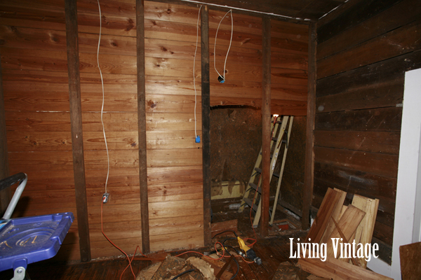 deconstructing the existing closet, moving the HVAC return, and installing new electrical outlets - Living Vintage
