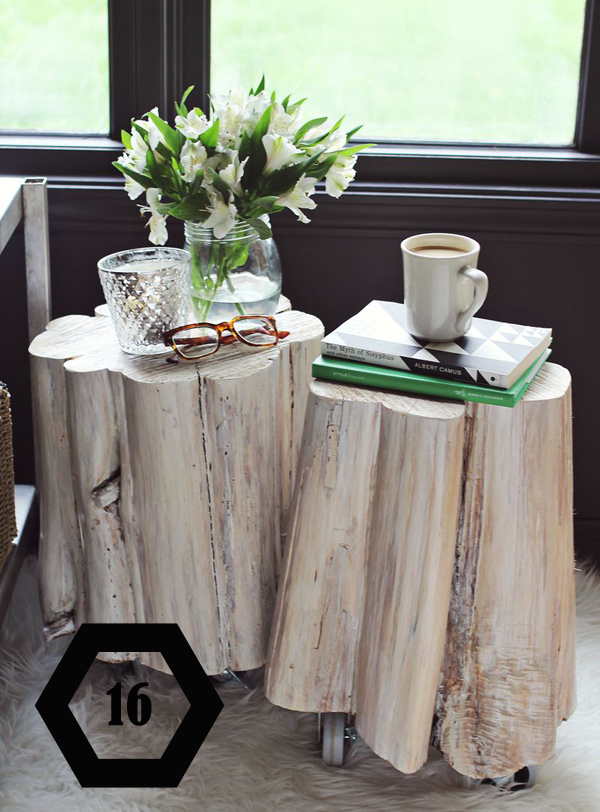 make rolling side tables from tree stumps
