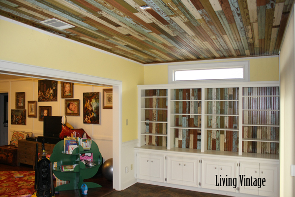 our completed beadboard project - a view towards the living room - Living Vintage