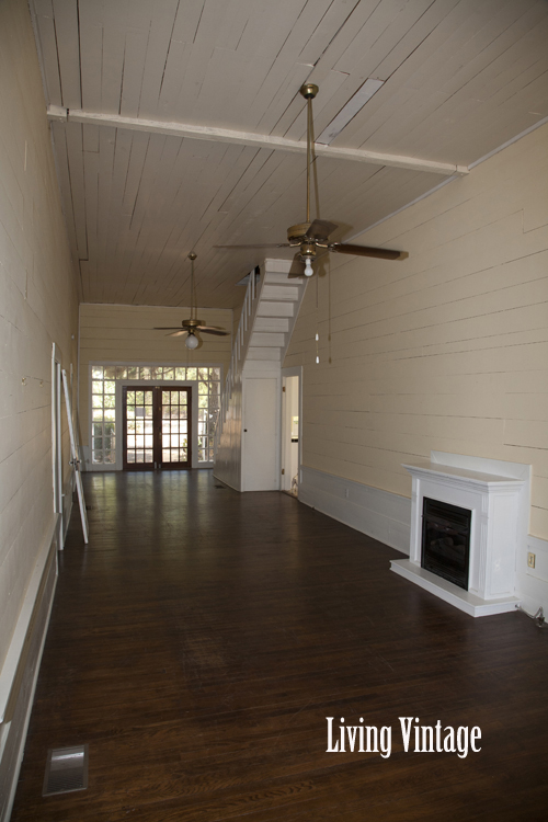 Living Vintage - our old dogtrot breezeway with its wood plank walls and ceiling