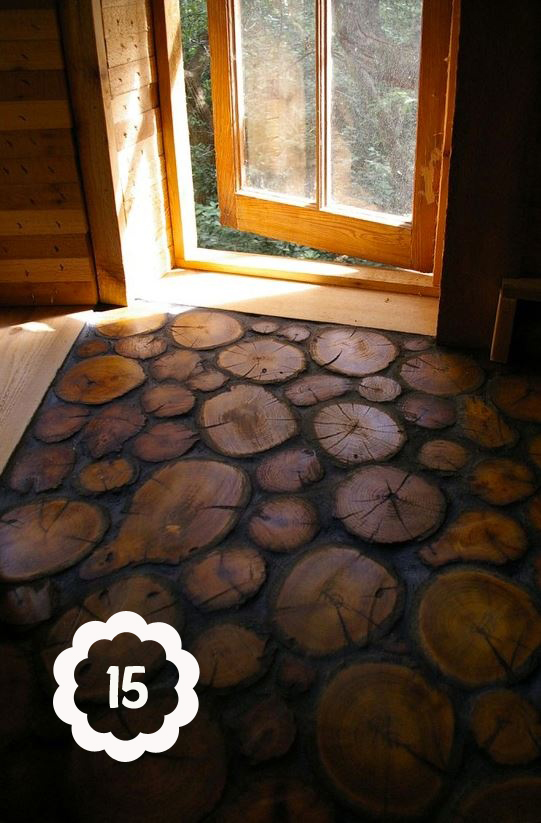 remarkable floors made from sliced logs