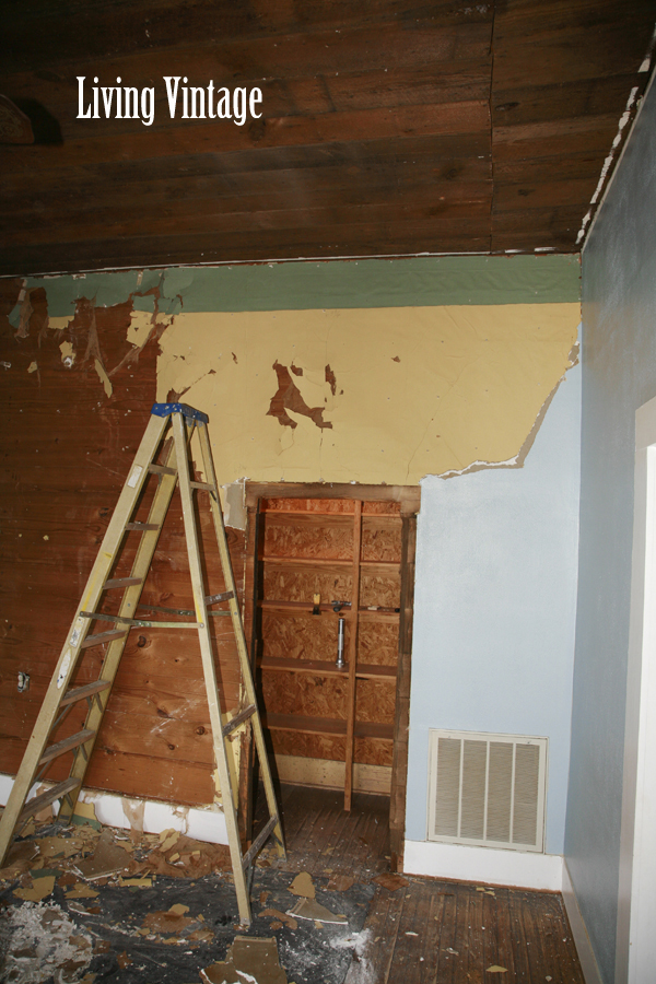 removing drywall and old wallpaper - Living Vintage