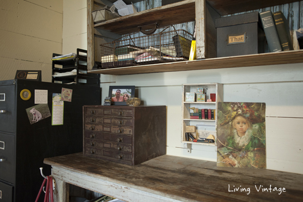A closeup of one side of the blue cabinet -- the file cabinet is painted with chalkboard paint - Living Vintage