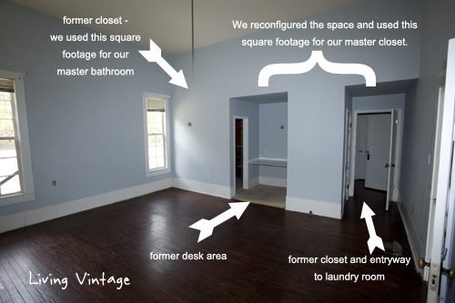 What we 39 ve done so far in our master bedroom living vintage for Adding a walk in closet