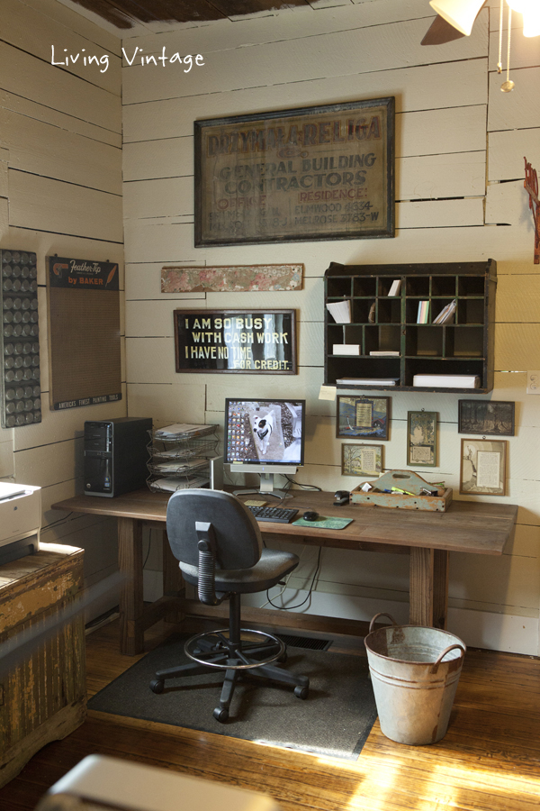a home office full of vintage character - see more photos @ Living Vintage