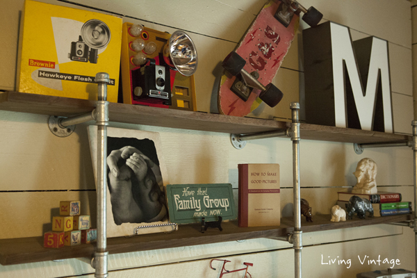 closeup of the collectibles on Mark's shelves - Living Vintage