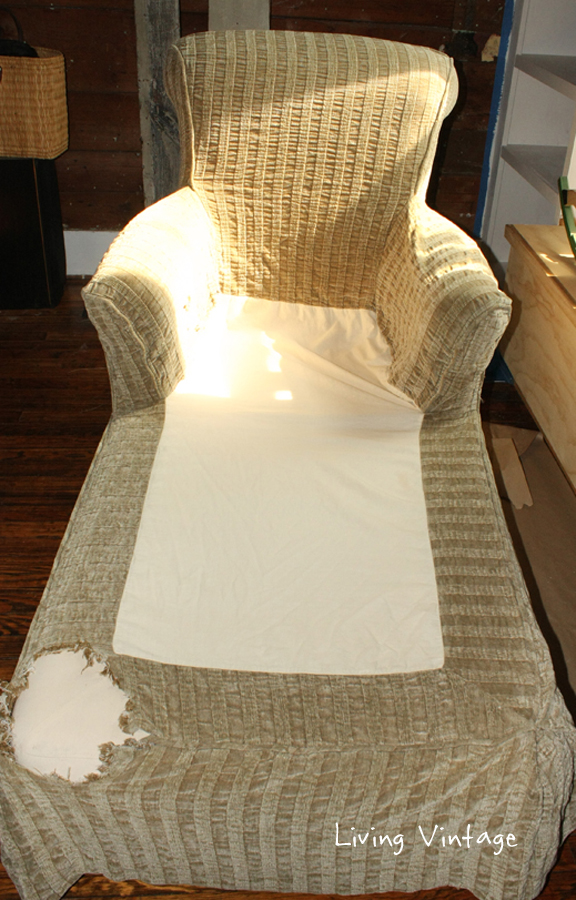 A Unique Way to Repair a Slipcover - Living Vintage : chaise lounge slipcovers - Sectionals, Sofas & Couches
