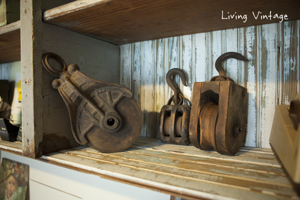 old pulleys that we may repurpose as lights one day - Living Vintage