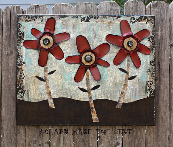 Etsy Finds - Living Vintage - a sweet piece of art using tin cans and vintage paper