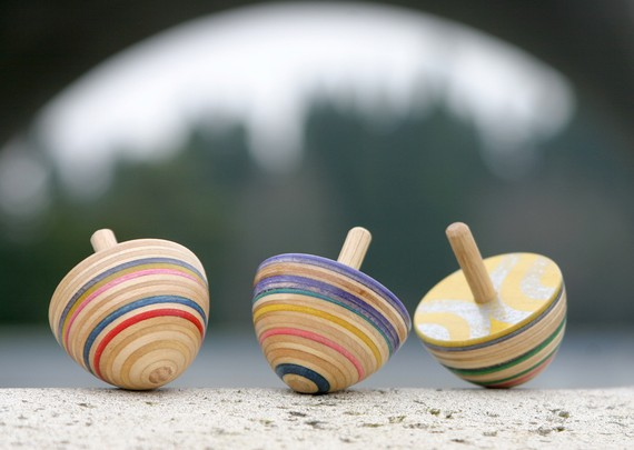 Etsy Finds - Living Vintage - spinning tops using recycled skateboards